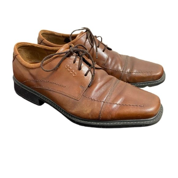 Ecco Mens Brown Leather Lace Up Dress Shoes 9-9.5